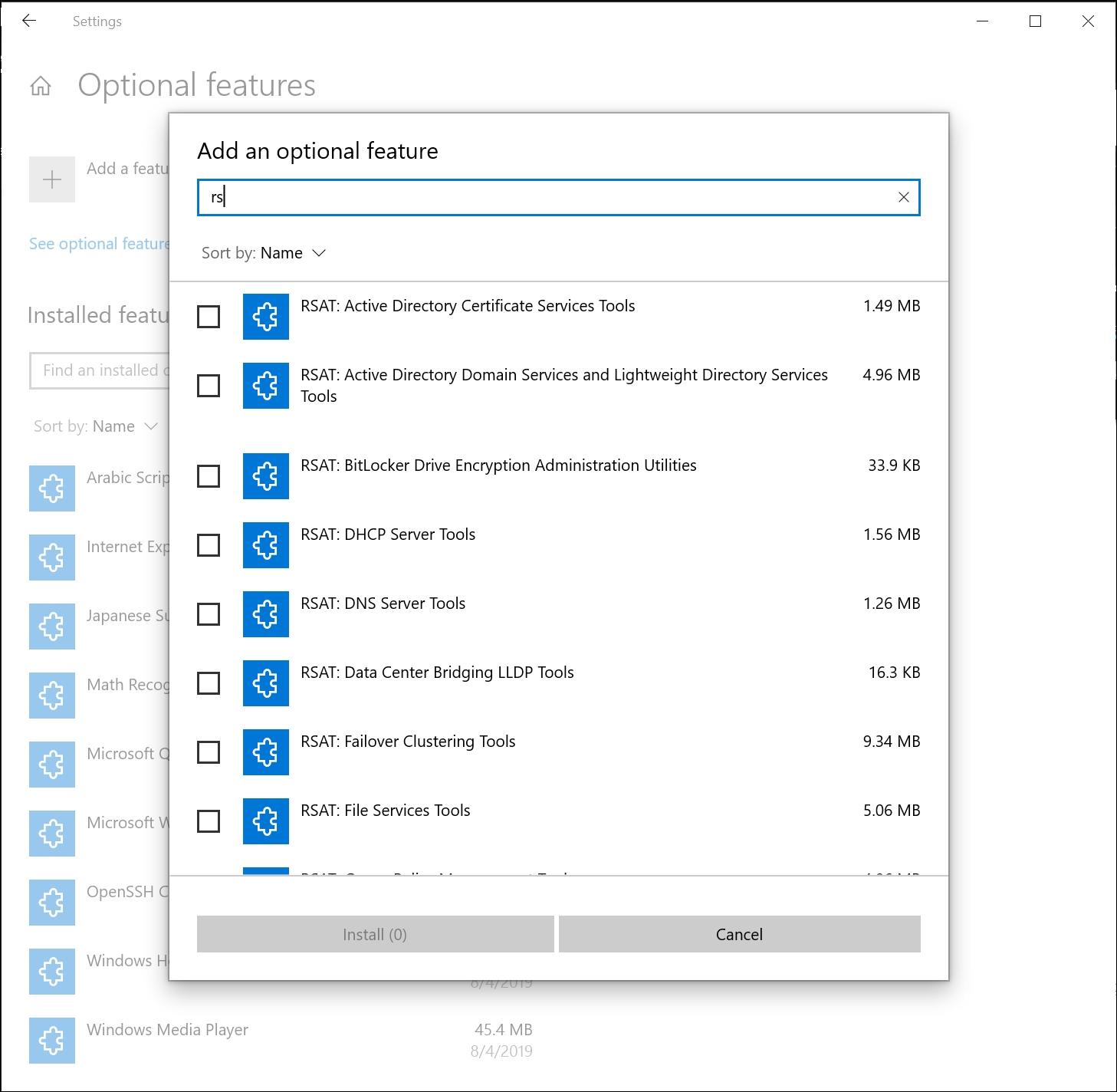 Optionale Windows-Features