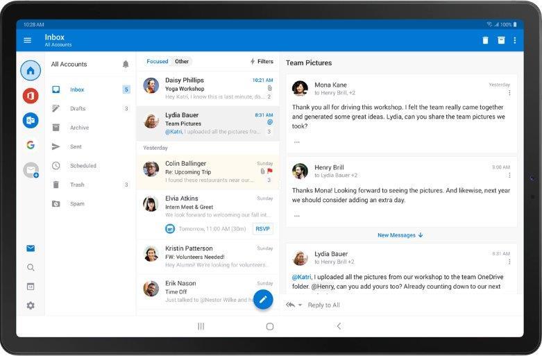 Outlook für Android im DeX Modus