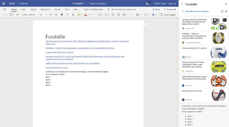 Microsoft Edge Sammlungen