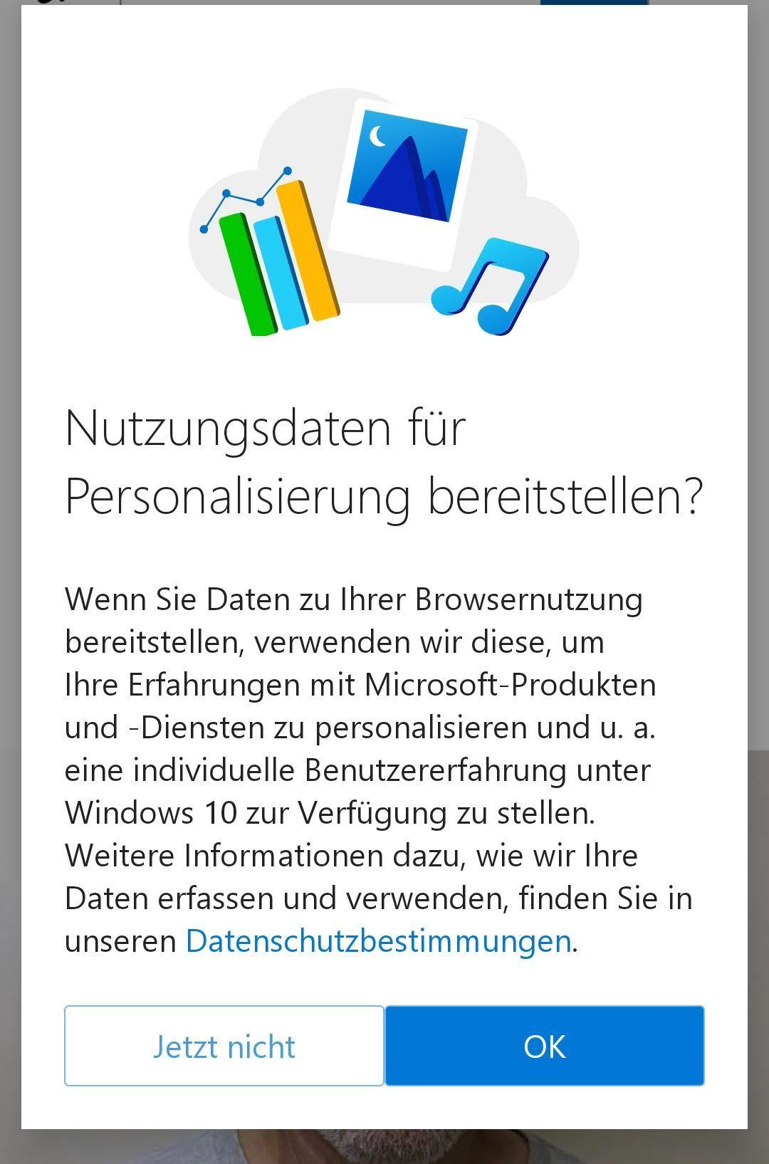 Microsoft Edge fragt nach Einverständnis zur Auswertung von Nutzungsdaten