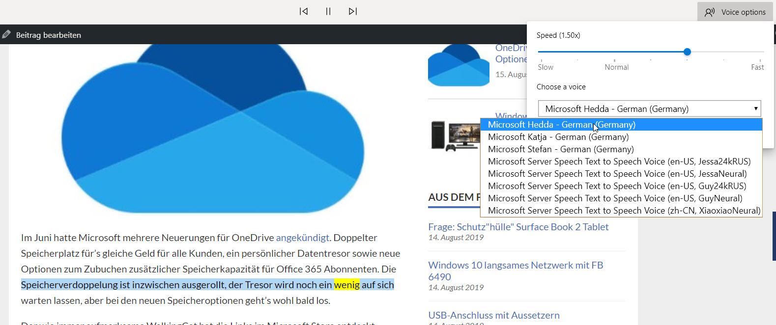 Vorlesefunktion in Microsoft Edge