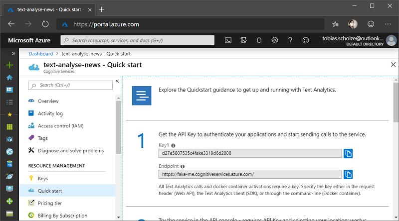 Azure Portal Cognitive Services Resource