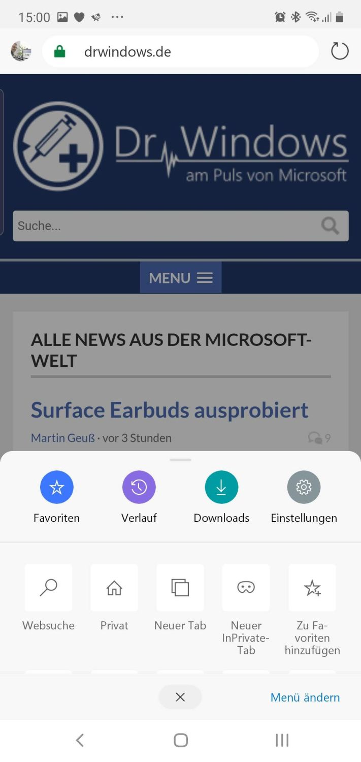 Microsoft Edge fuer Android
