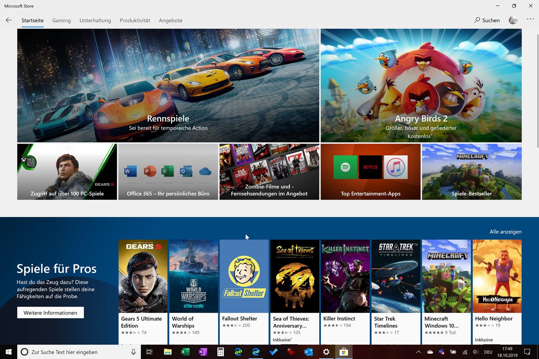 Neues Layout des Microsoft Store