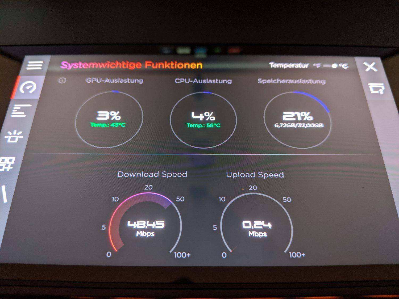 Anzeige von Systeminformationen auf dem sekundaeren Bildschirm