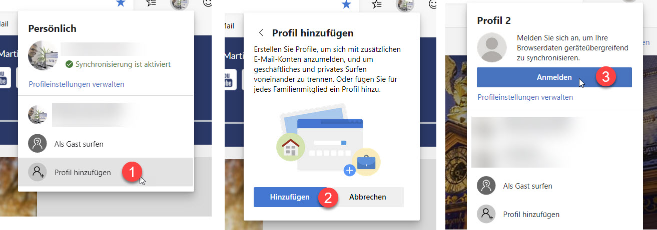 Neues Profil in Microsoft Edge anlegen