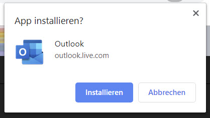 Outlook.com als PWA