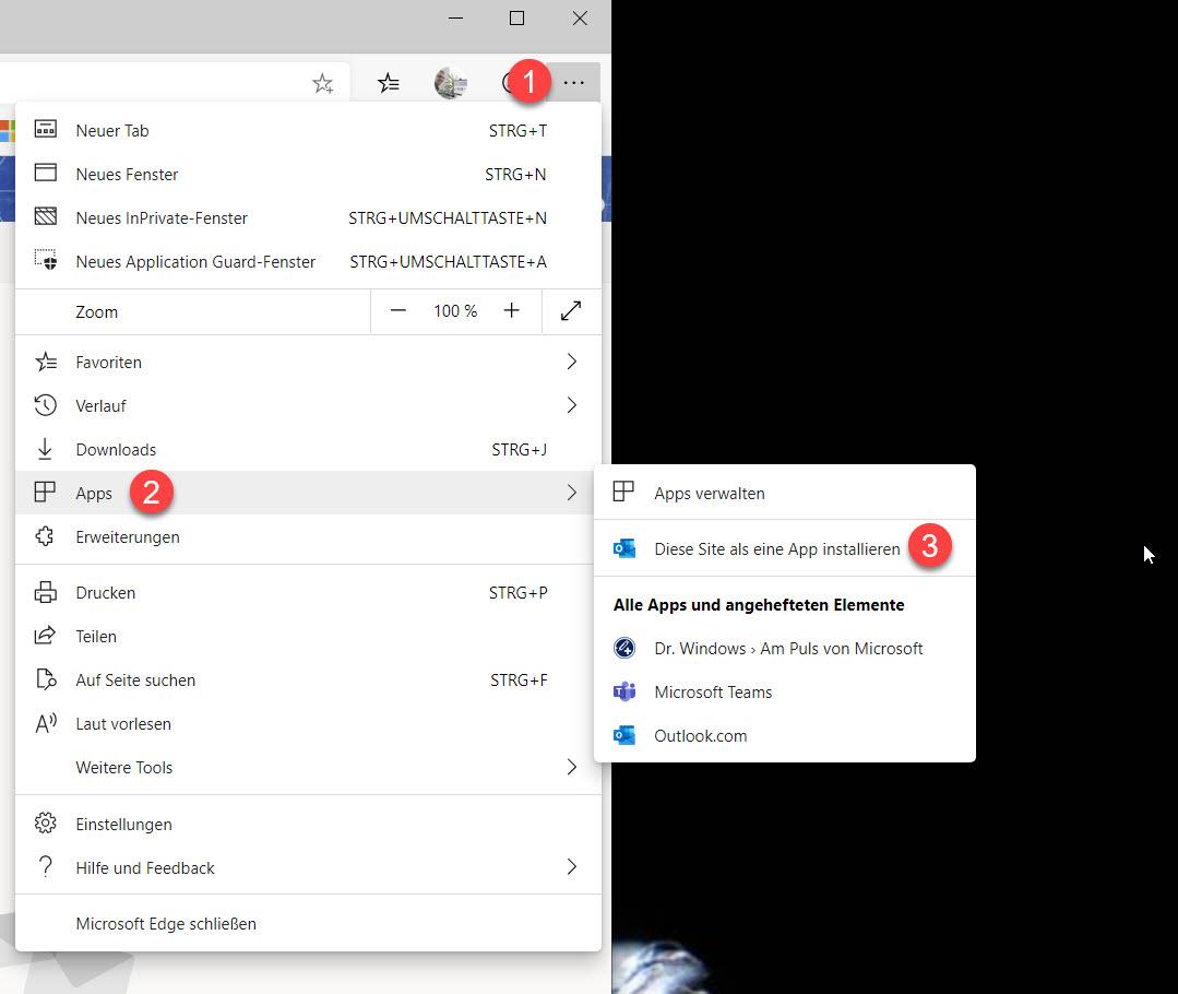Webseite als App installieren in Microsoft Edge