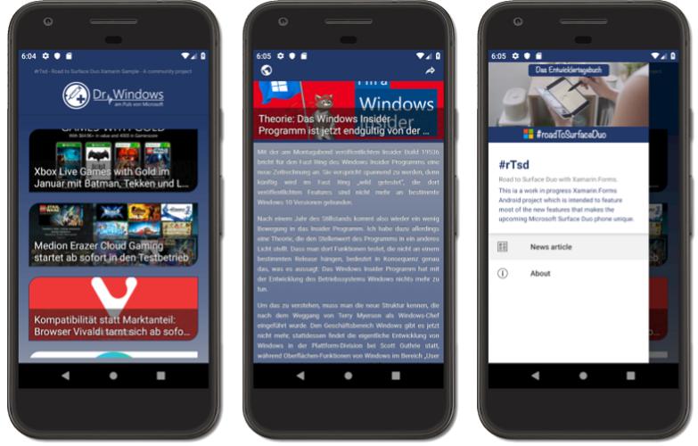 Xamarin App Screen Road to Surface Duo