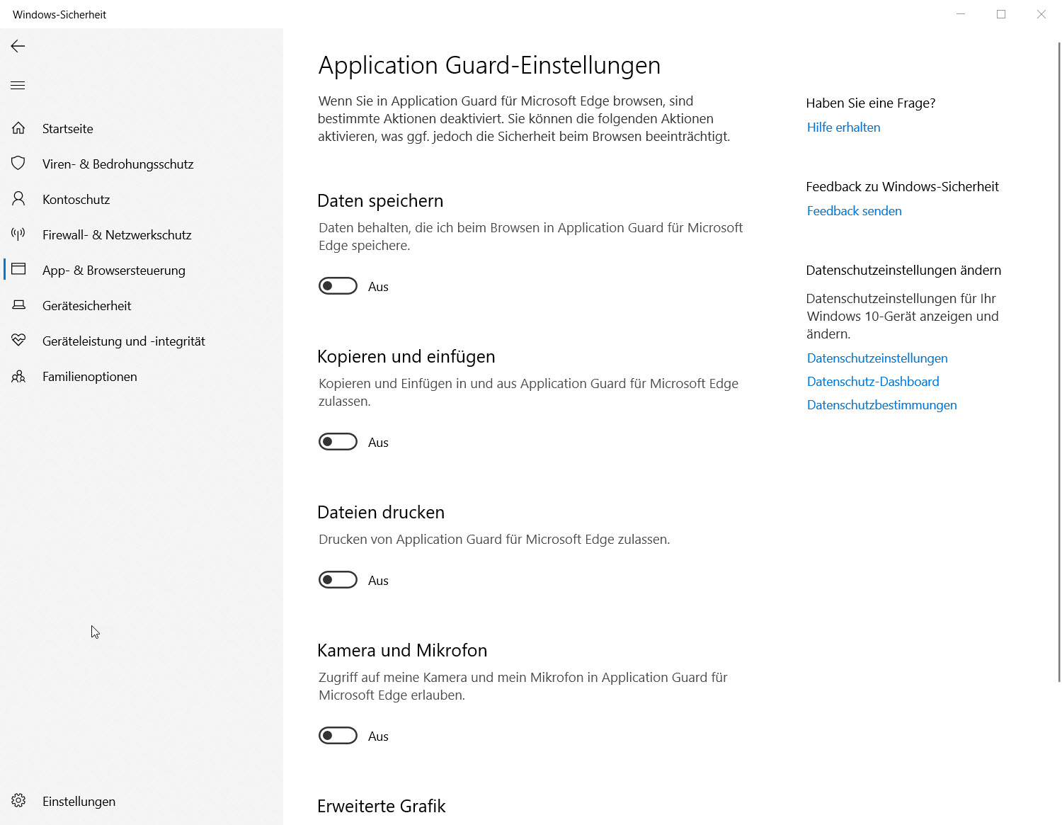 Application Guard Einstellungen