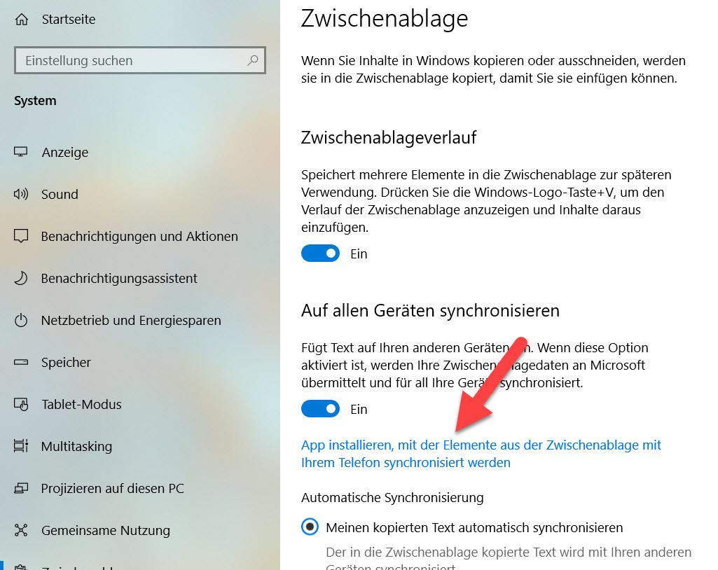 Verweis auf das Cloud Clipboard in Windows 10