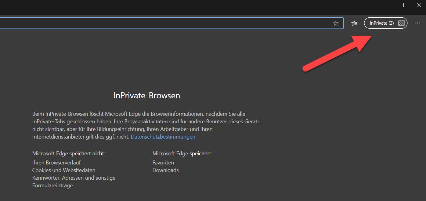 Anzeige der geöffneten InPrivate-Fenster