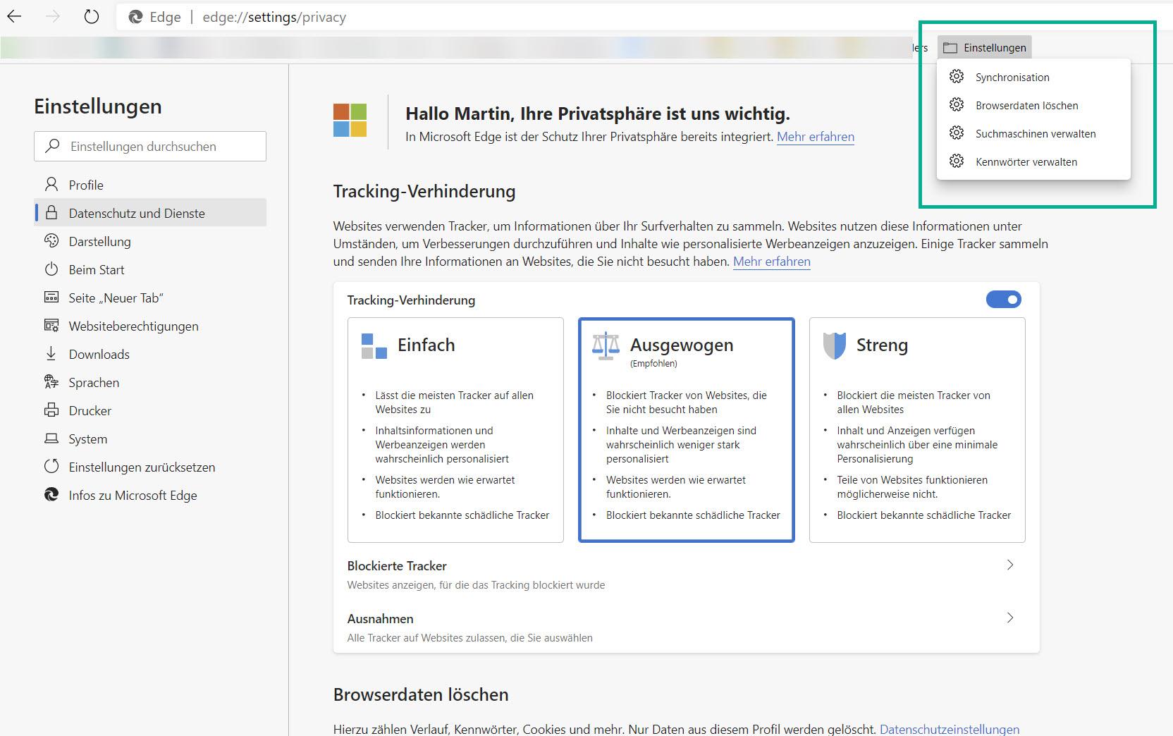 Microsoft Edge: Einstellungen als Lesezeichen ablegen