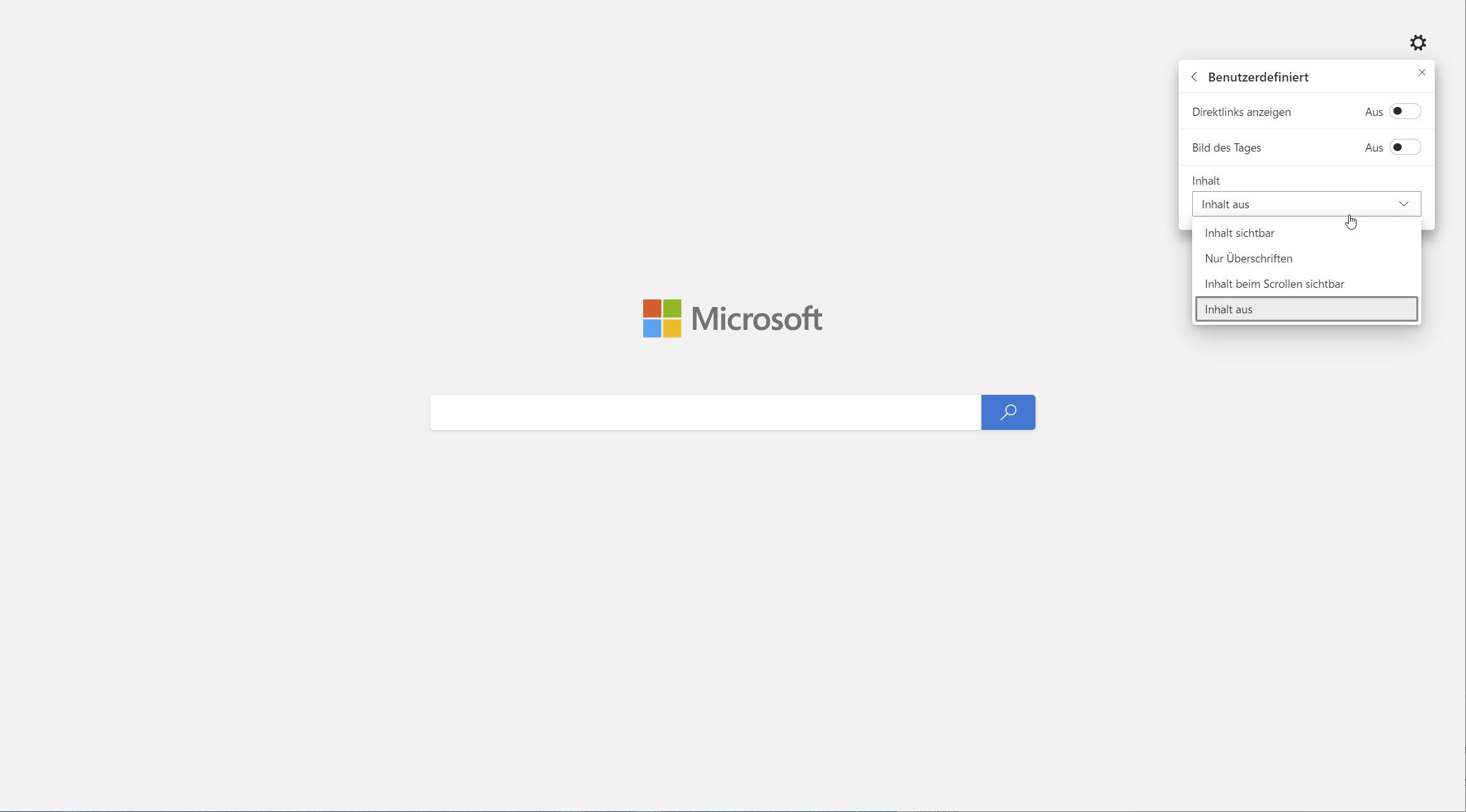 Microsoft Edge neuer Tab benutzerdefiniert