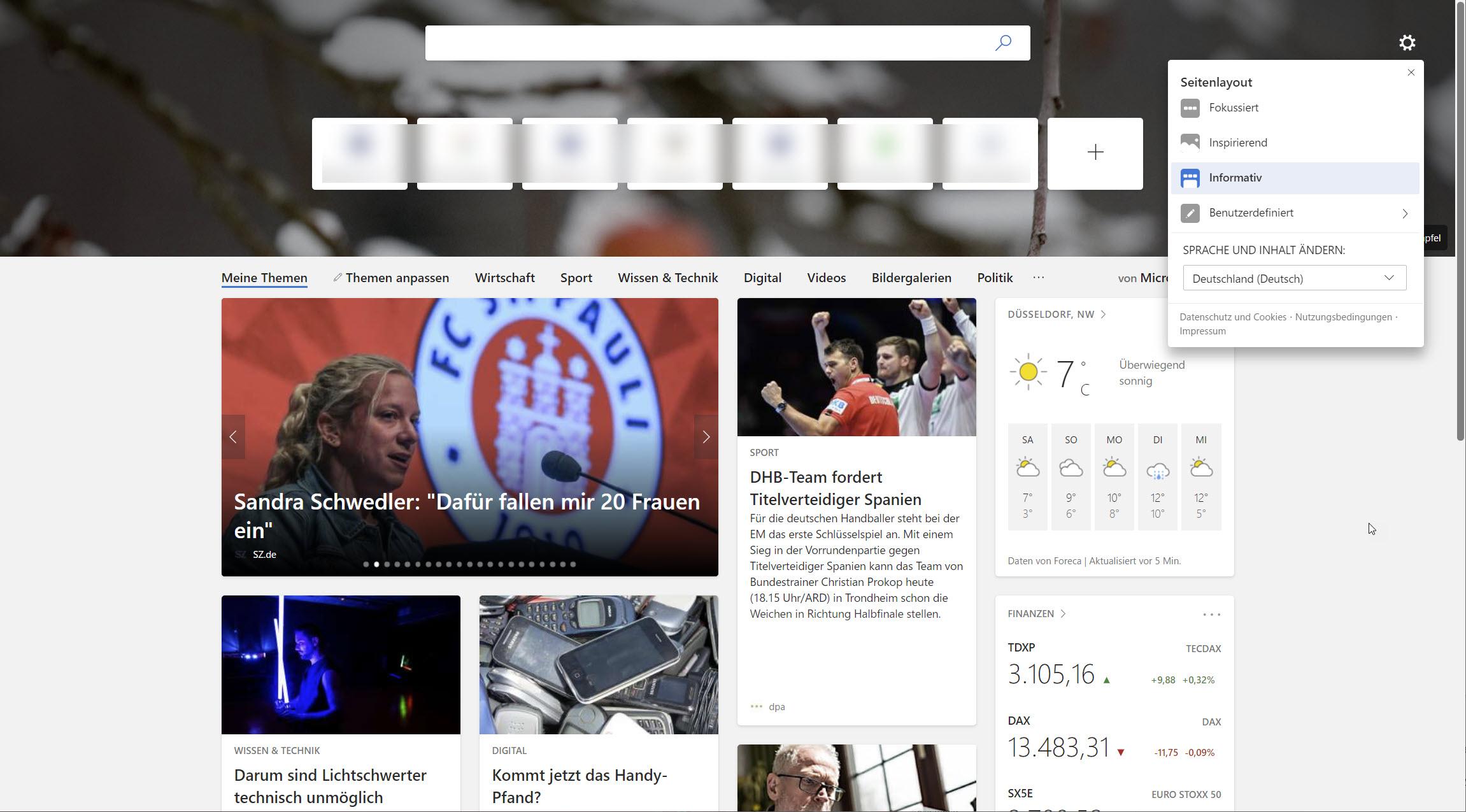 Microsoft Edge neuer Tab informativ
