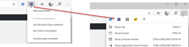 Microsoft Edge Symbole ausblenden
