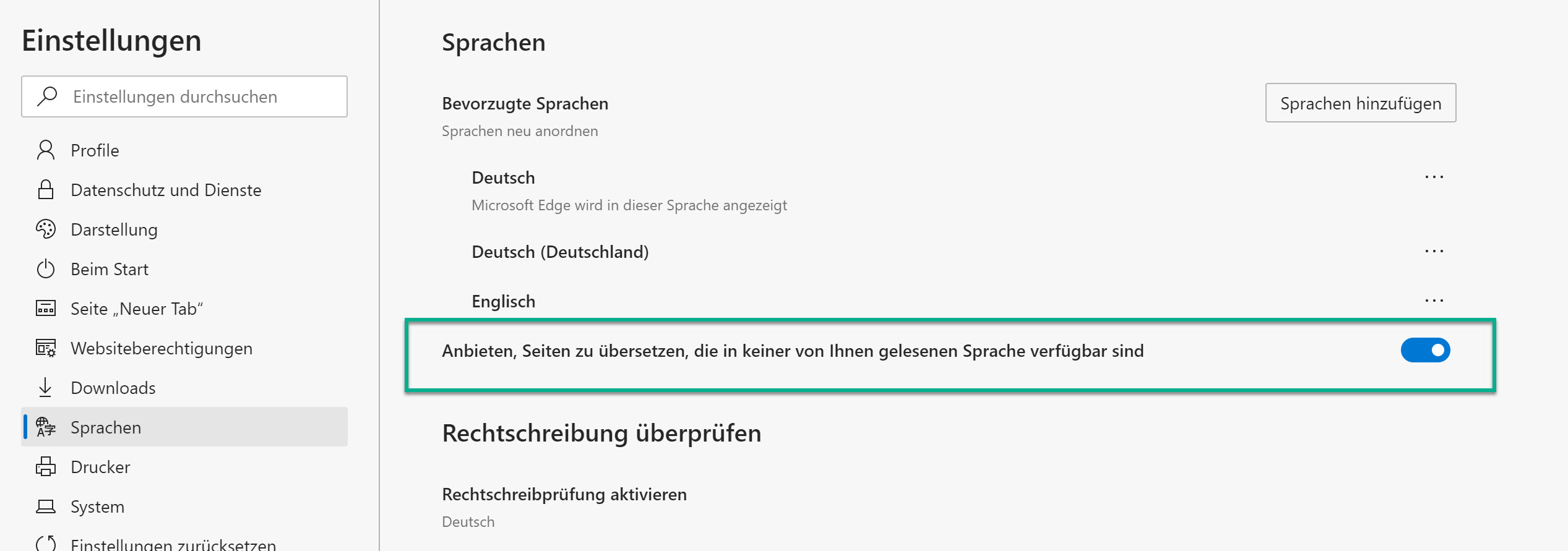 Übersetzung von Webseiten in Microsoft Edge