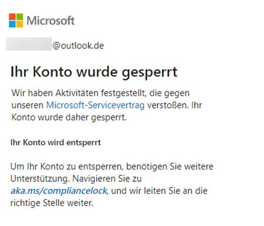 Microsoft Konto gesperrt