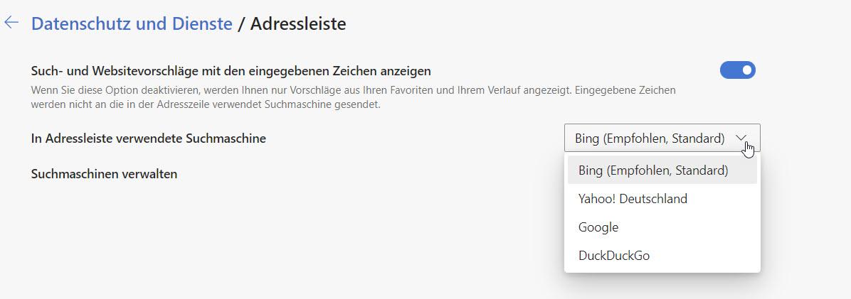 Suchmaschine für die Adressleiste in Edge einstellen