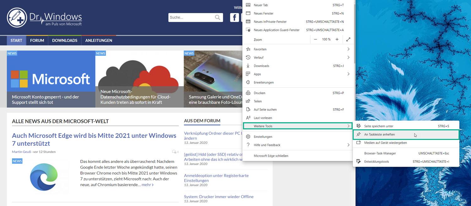 Webseite an die Taskleiste anheften in Microsoft Edge
