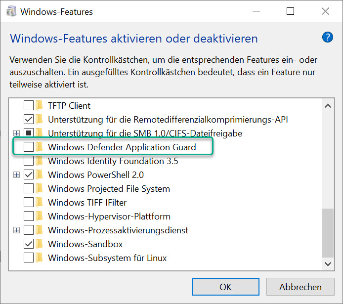 Windows Defender Application Guard einschalten