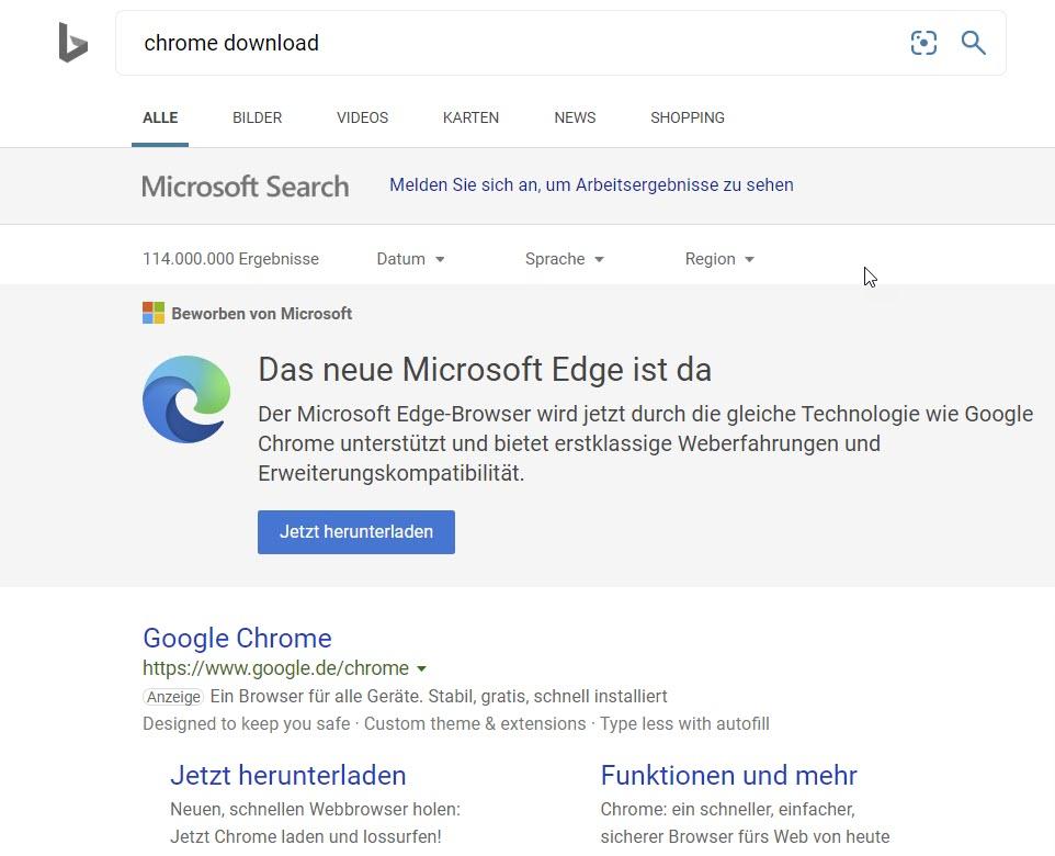 Werbung für Edge in Bing