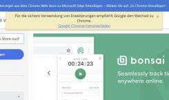 Google warnt Edge-Nutzer in seinem Web Store vor dem falschen Browser