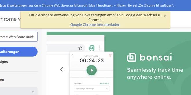 Chrome Web Store: Warnung an Nutzer von Microsoft Edge ist verschwunden