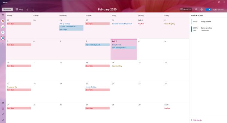 Windows 10 Kalender