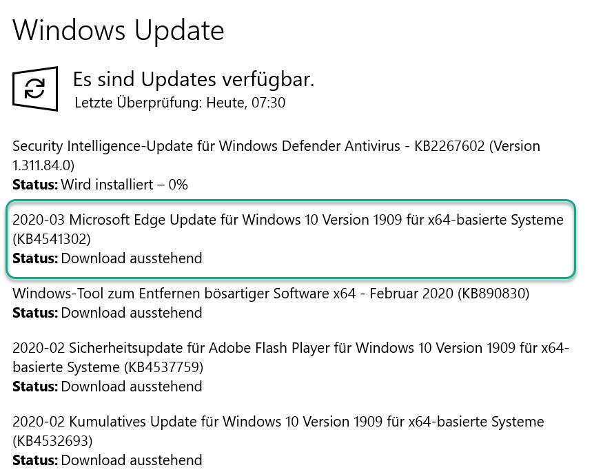 Installation des neuen Microsoft Edge per Windows Update