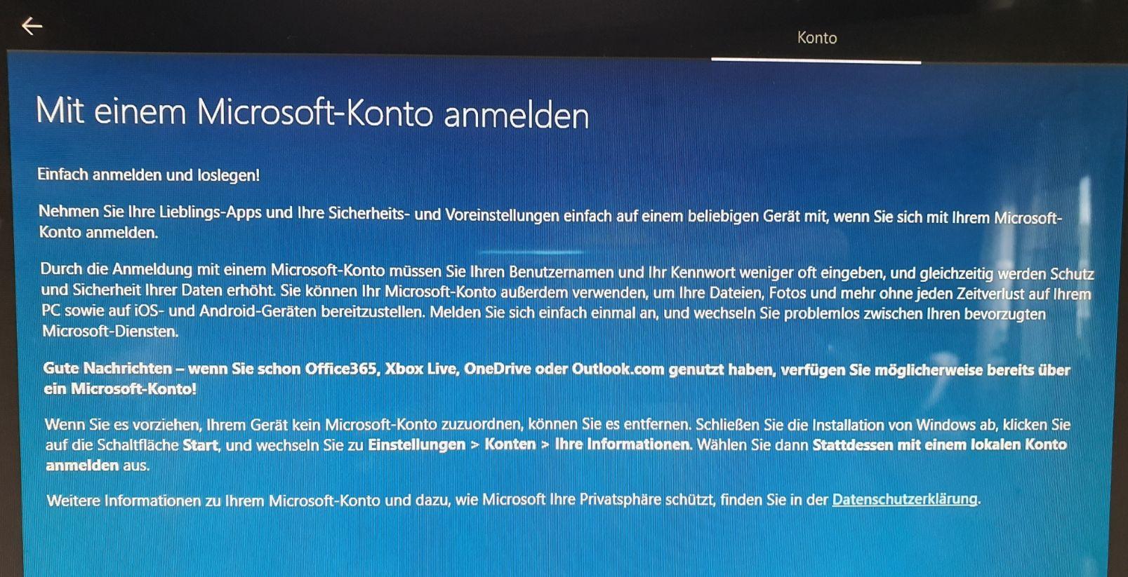 Das Setup von Windows 10 erzwingt die Verwendung eines Microsoft Kontos