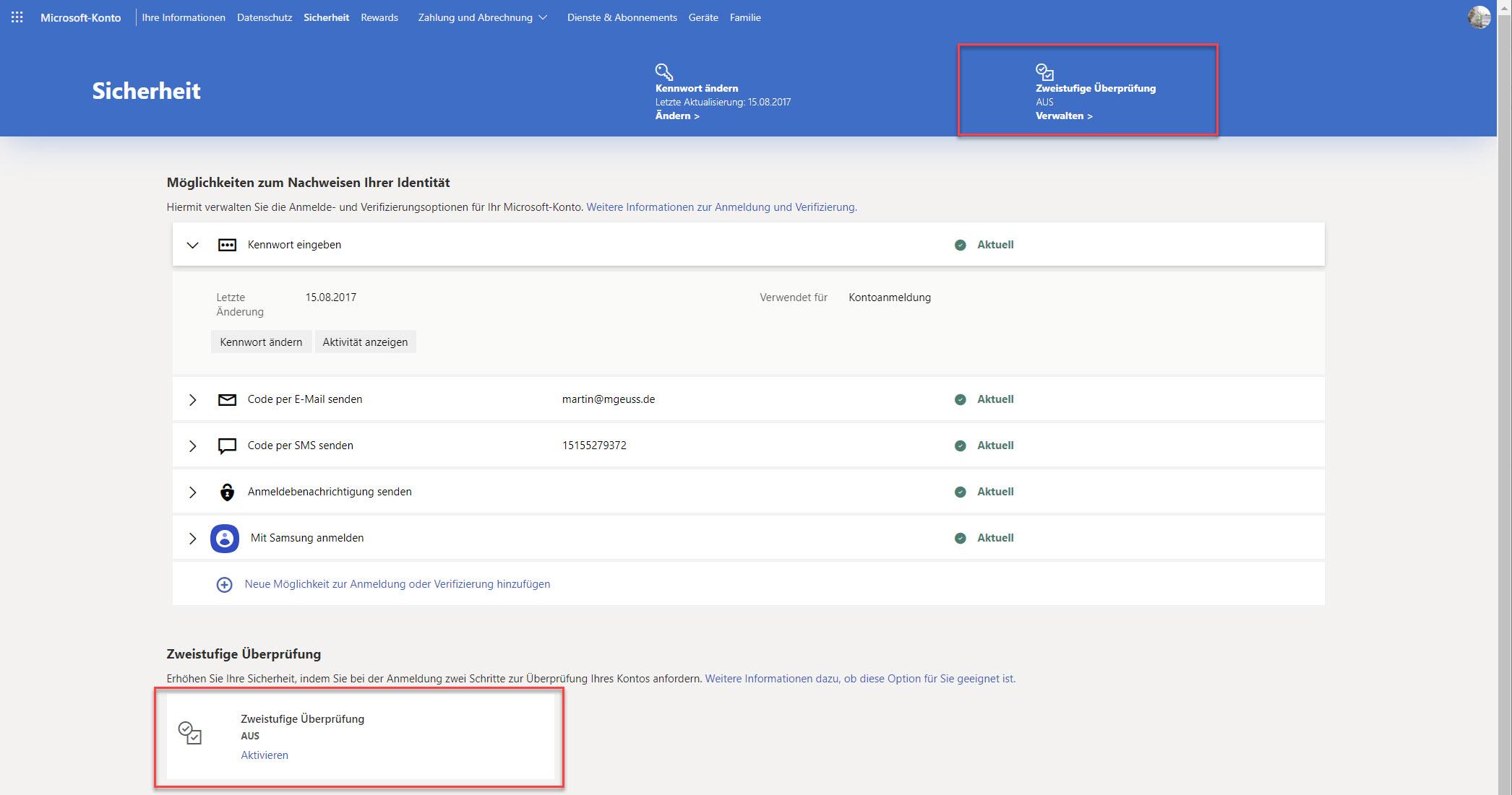 Microsoft-Konto mit deaktivierter 2-Faktor-Authentifizierung