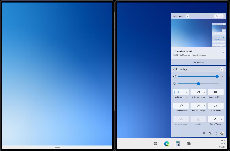 Windows 10X - Benachrichtigungscenter