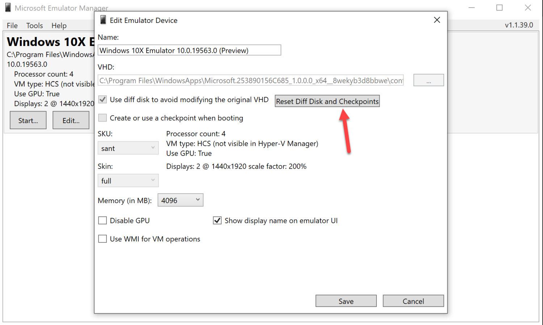 Windows 10X Emulator zurücksetzen
