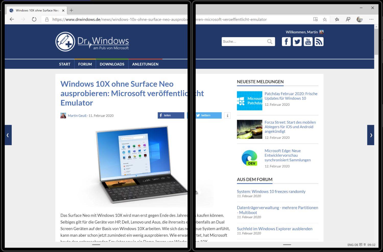 Windows 10X - gestreckte Ansicht einer App