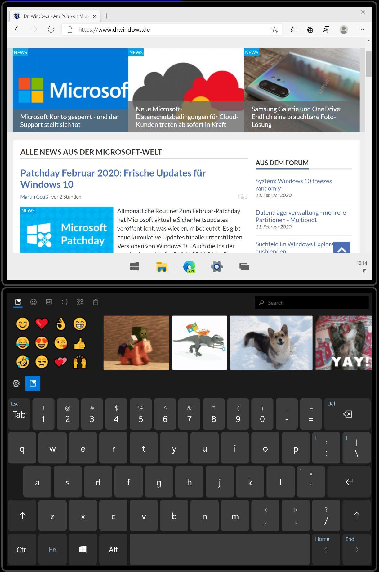 Windows 10X im Laptop-Modus mit der Wonderbar