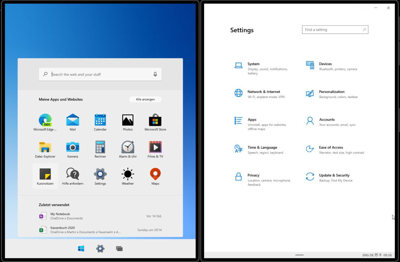 Windows 10X - Startmenü und Einstellungen