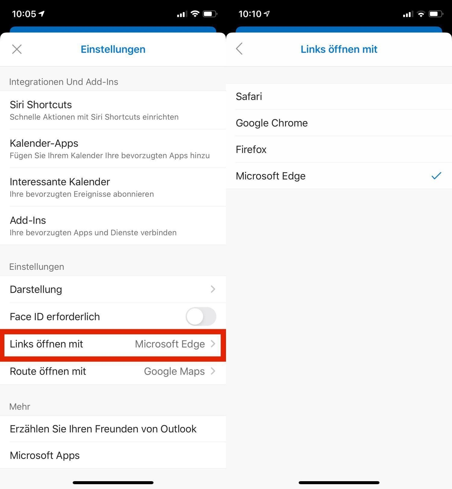 Die Einstellungen von Microsoft Edge unter iOS