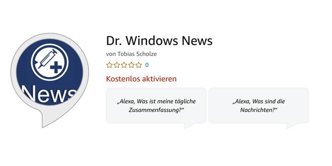 In eigener Sache: Dr. Windows gibt es nun auch für Alexas tägliche Zusammenfassung