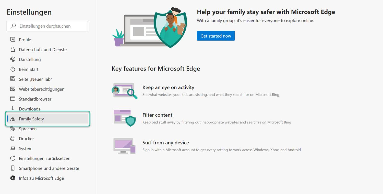 Einstellungen zu Familienkonten in Microsoft Edge