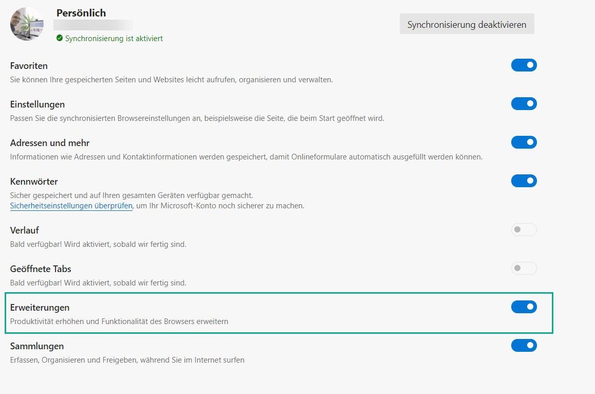 Microsoft Edge synchronisiert installierte Erweiterungen