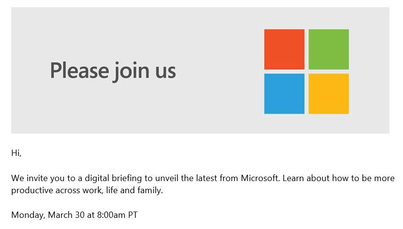 Einladung zur Microsoft Pressekonferenz am 30. März 2020
