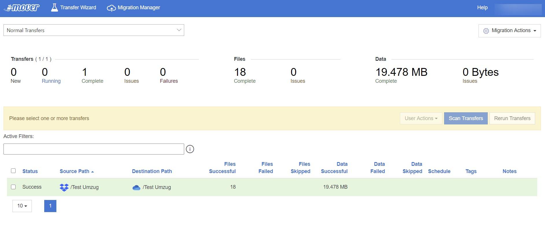 Migration von Dropbox nach OneDrive erfolgreich abgeschlossen