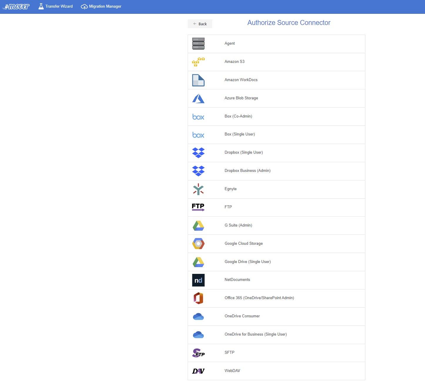 Mover unterstützt zahlreiche Cloud-Dienste als Quellen