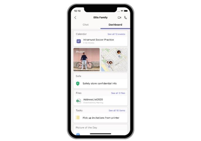 Screenshot der Teams App für iOS mit neuen Familienfunktionen