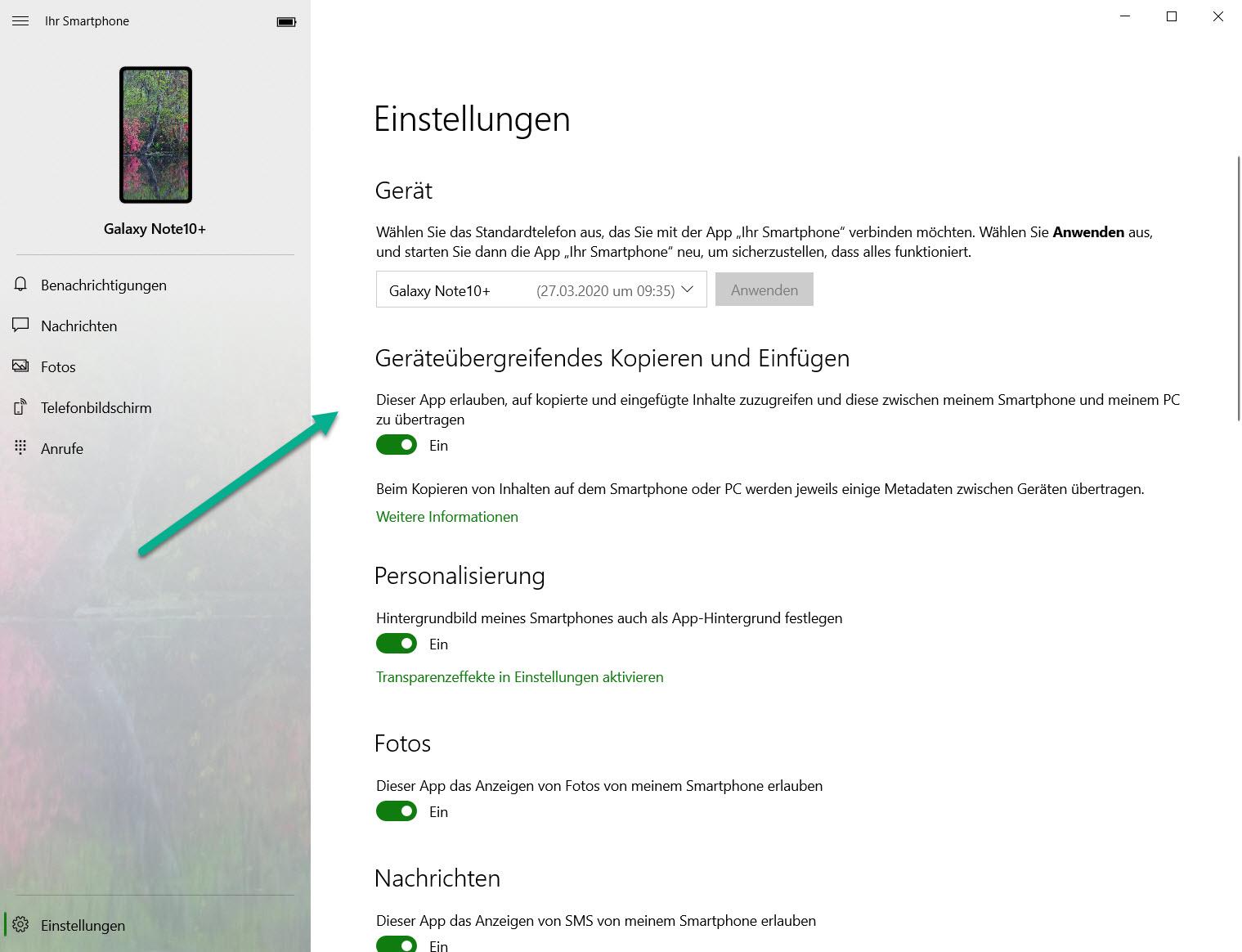 Geräteübergreifendes Kopieren und Einfügen in der App Ihr Smartphone