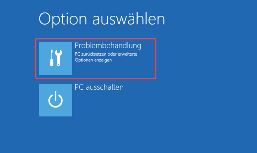 Windows 10 Recovery Umgebung