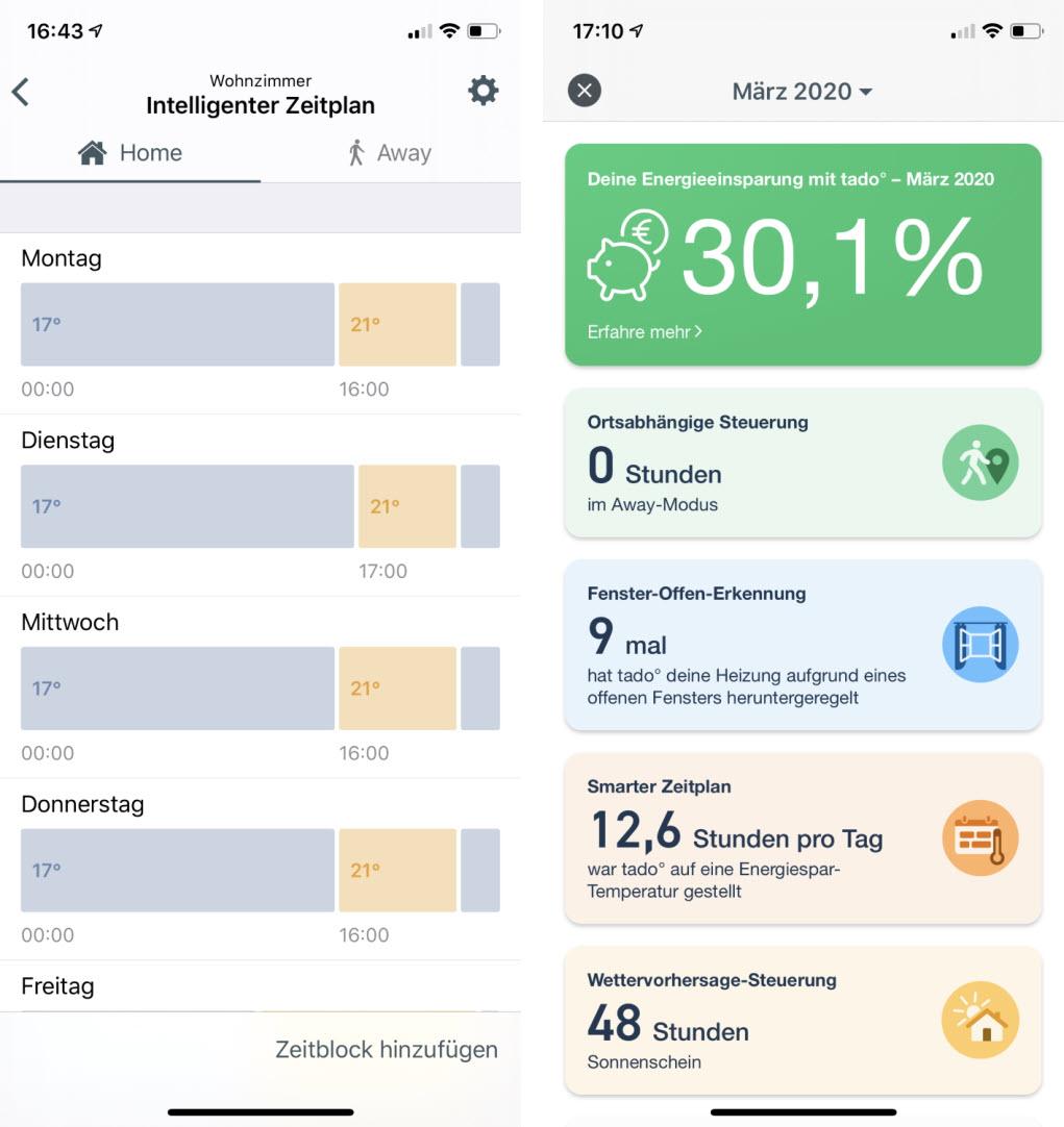 Screenshot diverser Menüseiten der tado App