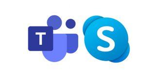 Logos von Teams und Skype