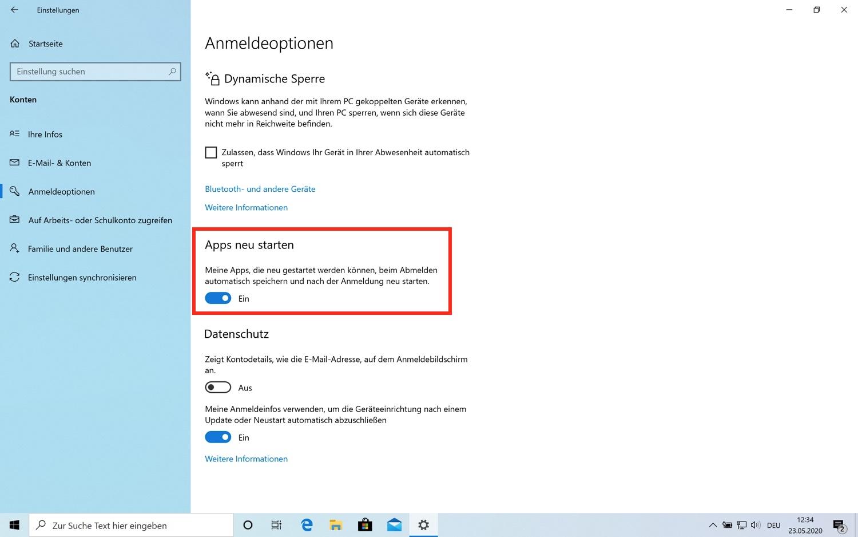 Neue Neustart-Funktionen im Windows 10 Mai Update
